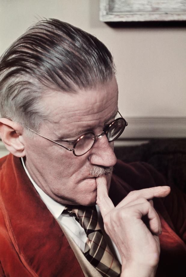 James Joyce, at home rue Edmond-Valentin, Paris (1939), photographed by Gisèle Freund.