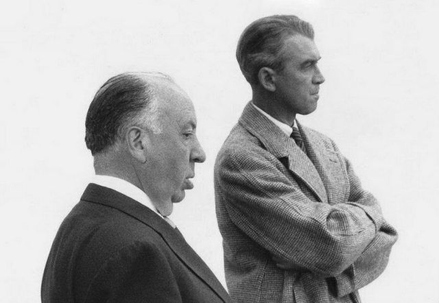 Alfred Hitchcock and James Stewart