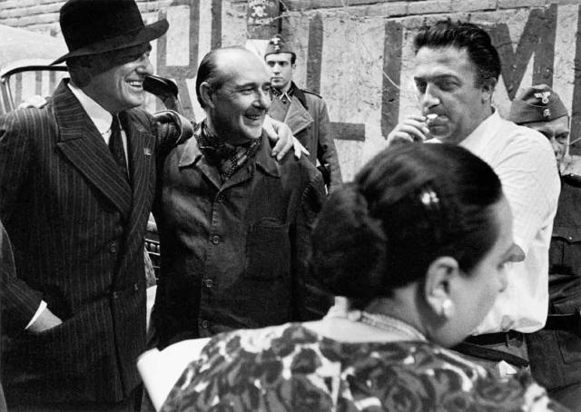 Vittorio De Sica, Roberto Rossellini and Federico Fellini