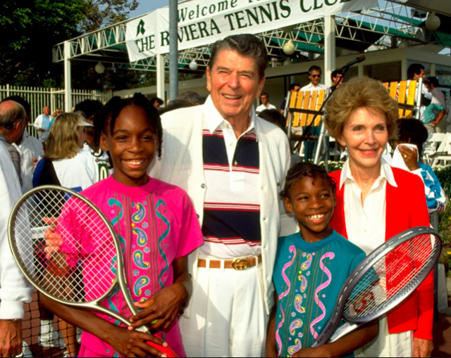Serena and Venus Williams with Ronald Reagan
