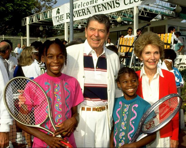 Serena and Venus Williams with Ronald Reagan