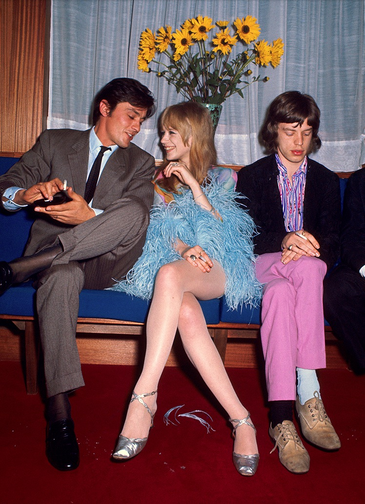Alain Delon, Marianne Faithfull and Mick Jagger