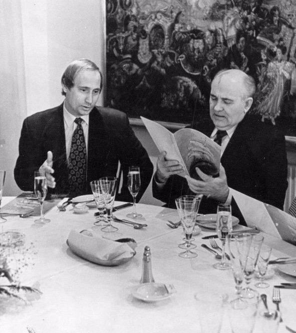 Vladimir Putin and Mikhail Gorbachev