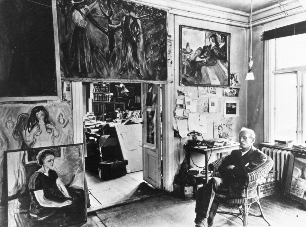 Edvard Munch in his study at Ekely (Norway), 1943